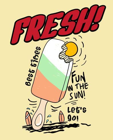 Illustrazione di gelato carino disegnato a mano vettore