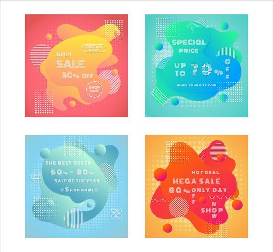 Set di poster di vendita fluidi vettore