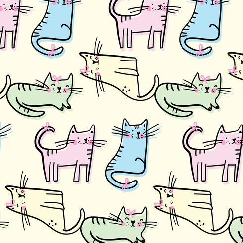 Reticolo di gatto pastello disegnato a mano vettore
