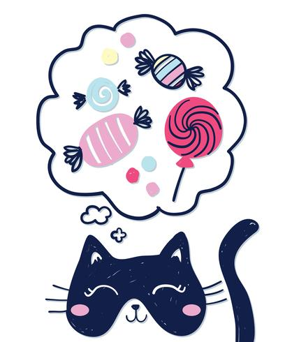 Cat Daydreaming About Candy vettore