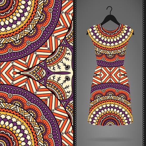 Modello senza soluzione di continuità con il vestito vettore