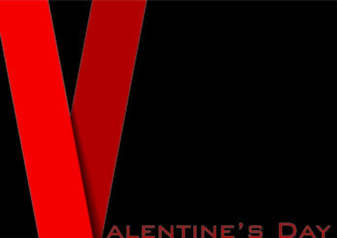 Sfondo di San Valentino in stile dorso rosso con le ombre vettore