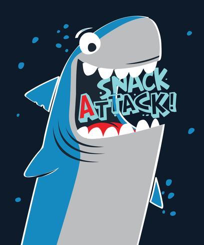 Disegnato a mano Snack Attack Shark vettore
