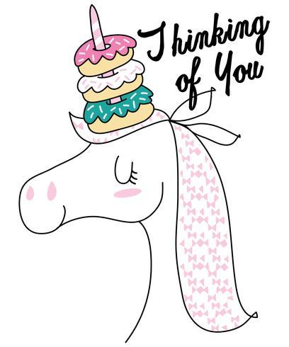 Ti penso unicorno vettore