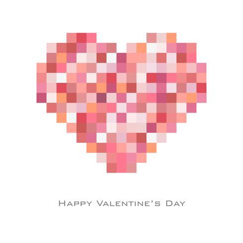 Sfondo di San Valentino con stile casuale punto quadrato in tono rosso vettore