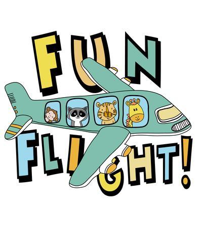 Animali svegli disegnati a mano sull'illustrazione dell'aeroplano vettore