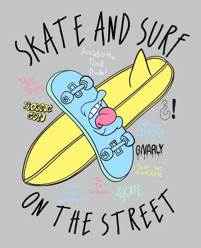 Pattino e surf disegnati a mano con l'illustrazione di scarabocchi del testo vettore