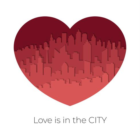 L'orizzonte della città nel tono rosso nel concetto del biglietto di S. Valentino nel cuore ha modellato vettore