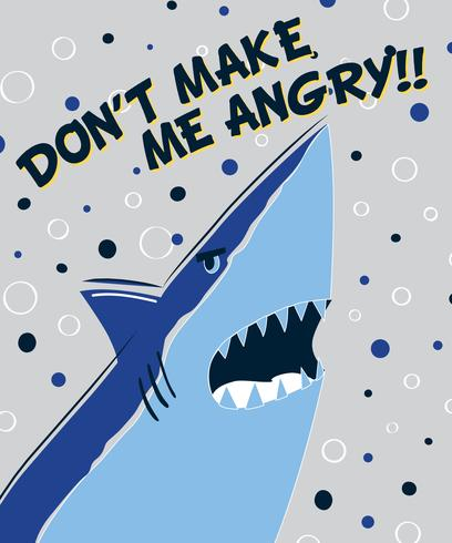 Disegnato a mano non farmi arrabbiare squalo vettore