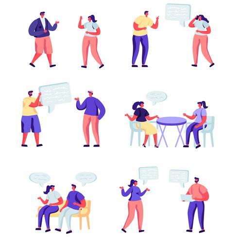 Set di personaggi di social network persone piatte vettore