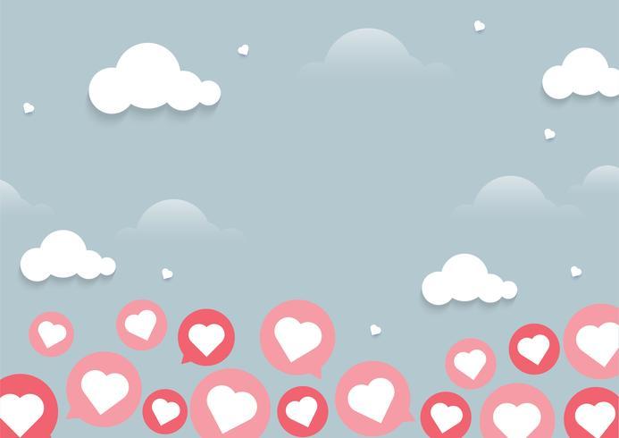 Sfondo chiaro di chat cuore volante vettore
