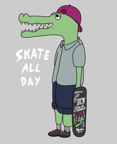 Skate All Day Crocodile vettore