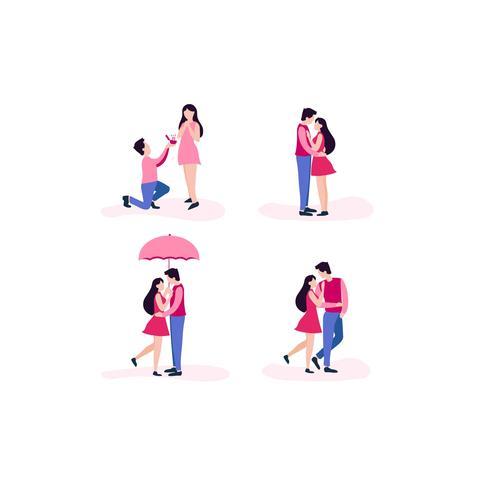 Amore coppia diverse pose vettore
