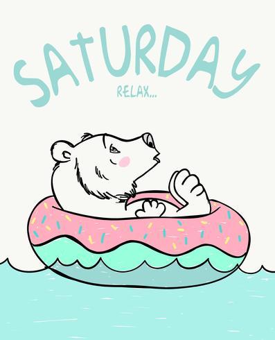 Sabato Relax Bear vettore