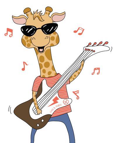 Giraffa, suonare la chitarra vettore