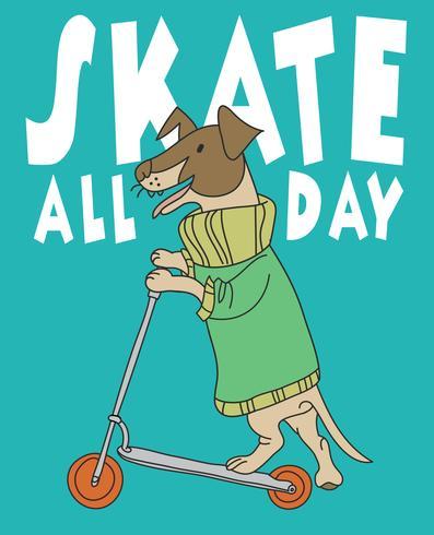 Skate All Day Dog vettore