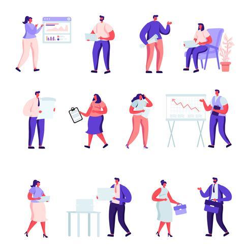 Set di caratteri di persone piatto ufficio lavoratori vettore