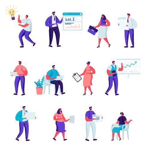 Set di caratteri di persone ufficio piatto business vettore