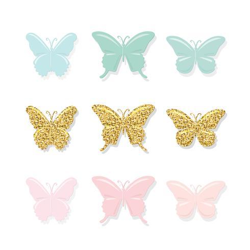Set di farfalle vettore