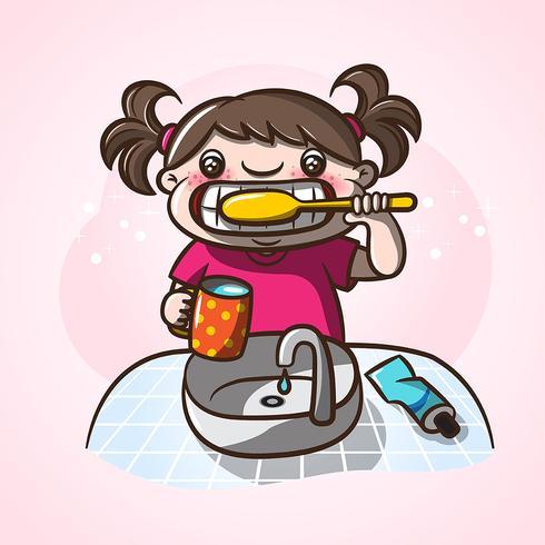 Bambina lavarsi i denti. vettore