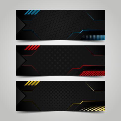 Set di modelli di banner techno vettore