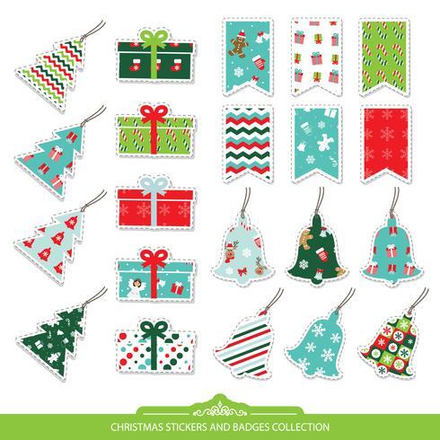 Set di adesivi ed etichette di Natale. vettore