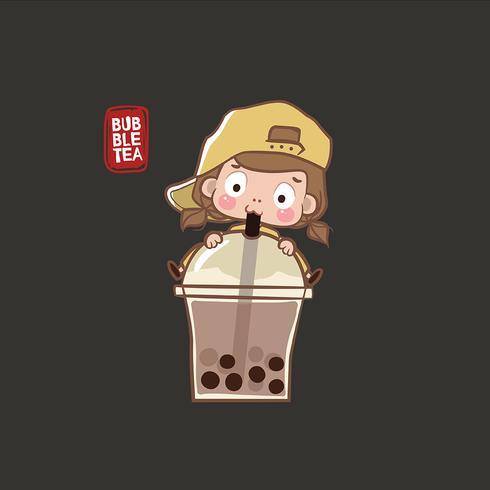 Bambina che beve il tè della bolla vettore