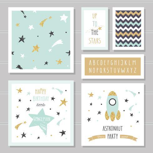 Simpatiche carte con glitter coriandoli dorati per bambini. vettore