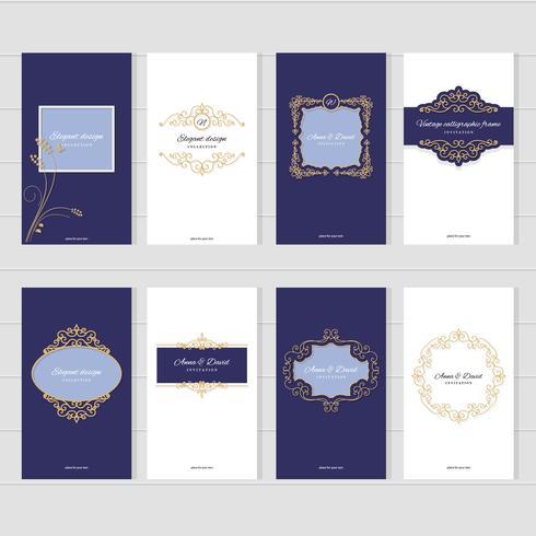 Set di modelli di carte vintage di lusso. vettore