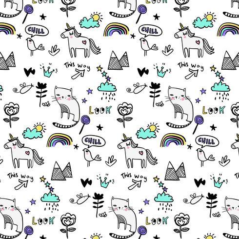 Disegnato a mano contorno nero gatto e modello di unicorno vettore
