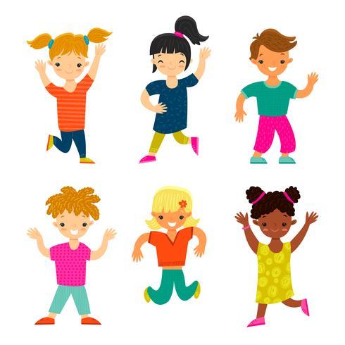 Set di bambini sorridenti felici vettore
