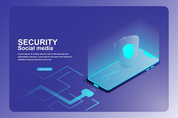 Pagina di destinazione della protezione della sicurezza dei dati mobili vettore