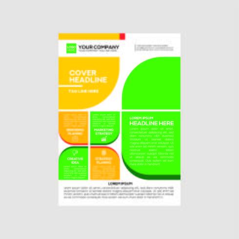 Business Flyer Design Colore arancione e verde vettore