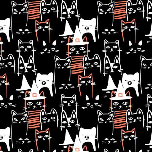 Modello di gatti neri di halloween contorno bianco disegnato a mano vettore