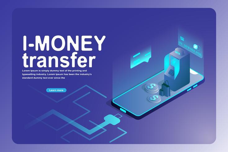 Mobile banking trasferimento bancario e landing page finanziaria vettore