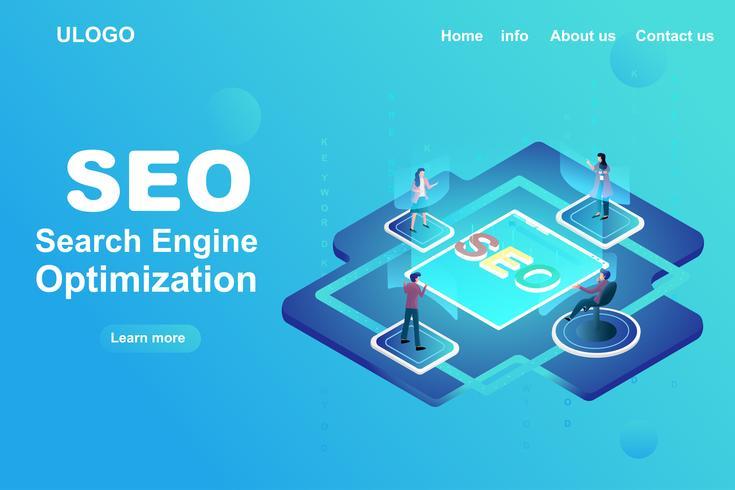 Pagina di destinazione della strategia di ottimizzazione dei motori di ricerca vettore