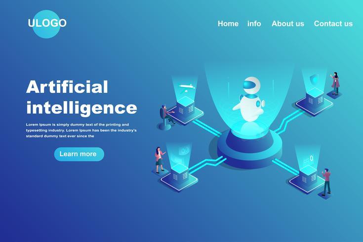 Concetto di landing page di intelligenza artificiale vettore