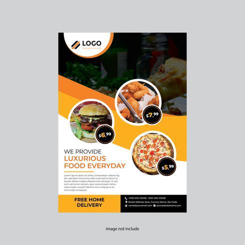 volantino ristorante arancione design semplice vettore