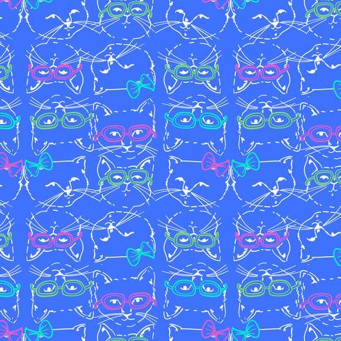Disegnato a mano facce di gatto cool con motivo a occhiali vettore