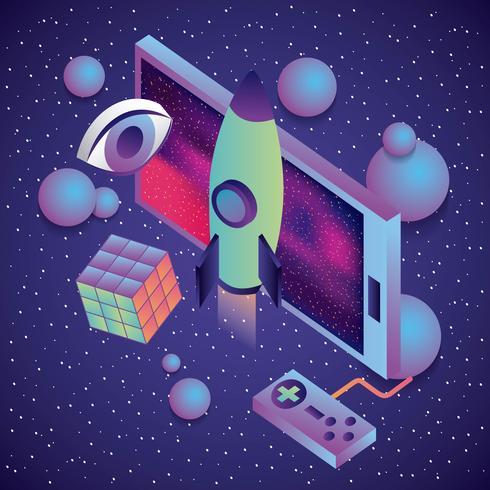 controllo del gioco per smartphone razzo cubo occhio realtà virtuale 3d vettore