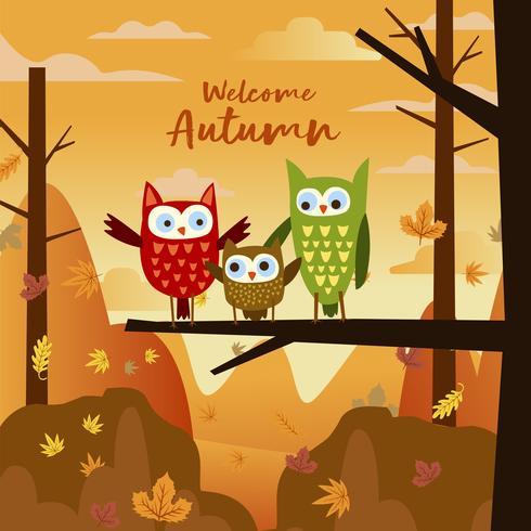 Famiglia felice del gufo nella foresta Autumn Fall Season vettore