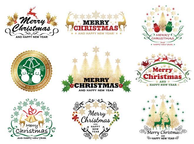 Set di badge o etichetta di Natale. vettore