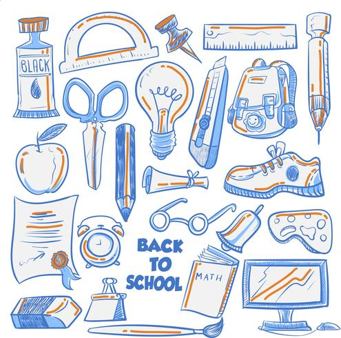 Cool Doodle Art Per Back To School Texture Di Sfondo vettore