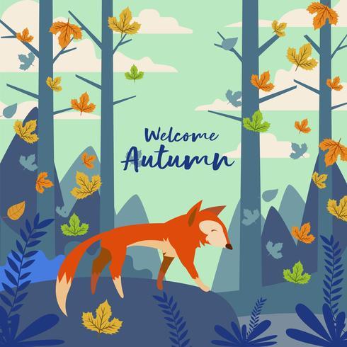 Fox Illustrazione Nella Foresta Per L'autunno vettore