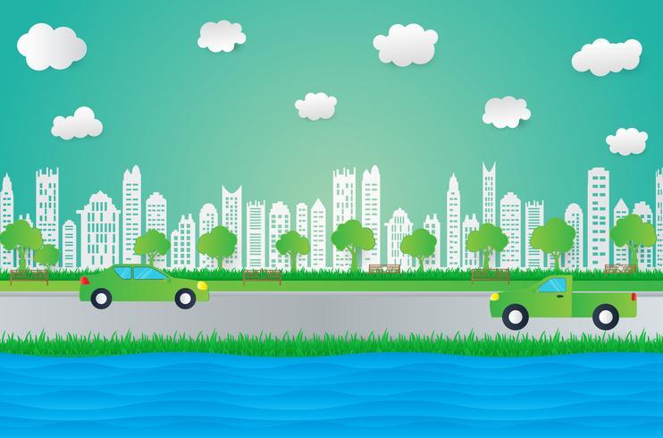 Stile di design di arte di carta, città con erba, sole, nuvola, idea di ecologia della natura. vettore