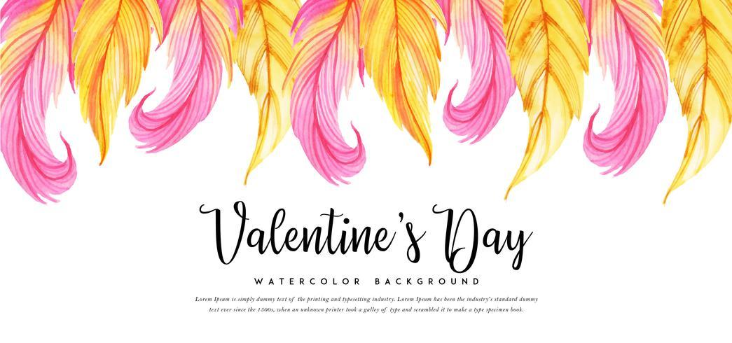Banner di San Valentino foglie di acquerello vettore