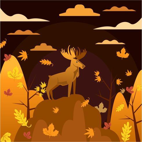 Illustrazione dei cervi con colore di tema arancio di stagione di caduta di autunno vettore