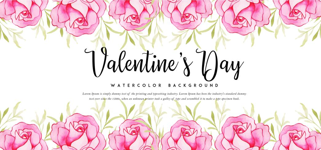 Banner di rose acquerello San Valentino vettore