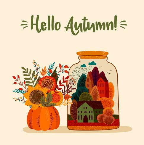 Illustrazione carina autunno. Disegno vettoriale per carta, poster, flyer