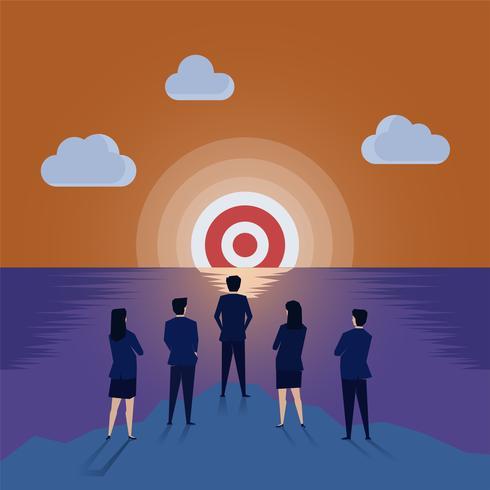 Gli uomini d'affari e le donne d'affari team vedendo l'obiettivo affogato come il tramonto sul mare vettore